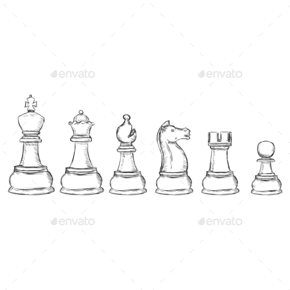 GraphicRiver Set of Sketch Chess Figures 10084184