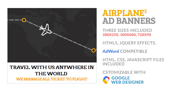 Airline Travel Flight GWD HTML5 Ad Banner 2