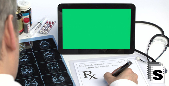 Medical Prescription With Green Screen Tablet