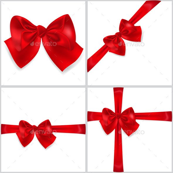 GraphicRiver Red Bows Made of Ribbons 10086475