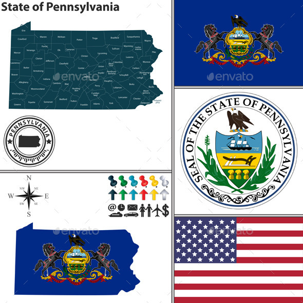 GraphicRiver Map of State Pennsylvania USA 10087689
