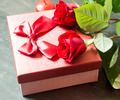 Red Roses and Gift for Valentine's Day