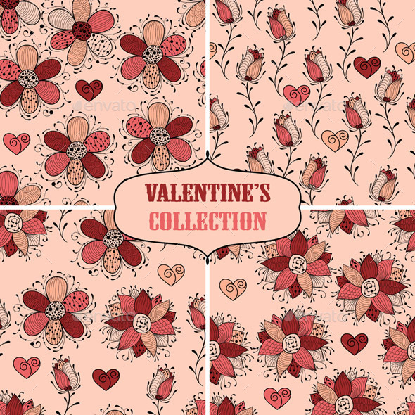 GraphicRiver Valentine s Seamless Collection 10087981
