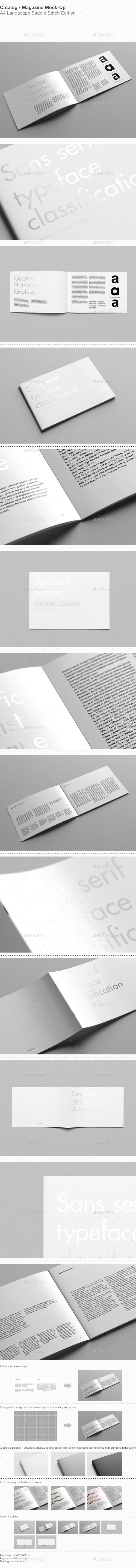 A4 Landscape Catalog / Magazine Mock-Up - Magazines Print