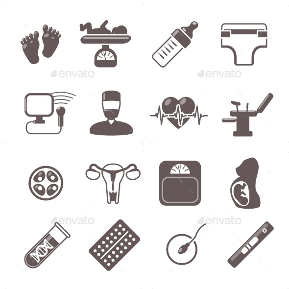 GraphicRiver Pregnancy Black Icons 10088486