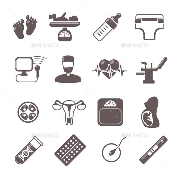 GraphicRiver Pregnancy Black Icons 10088486