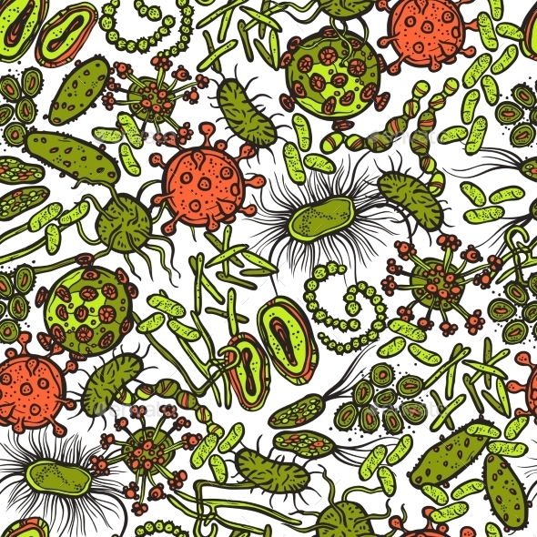 GraphicRiver Bacteria And Virus Seamless Pattern 10088499