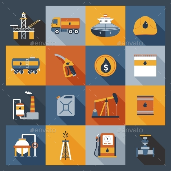 GraphicRiver Oil Industry Icons Flat 10088517