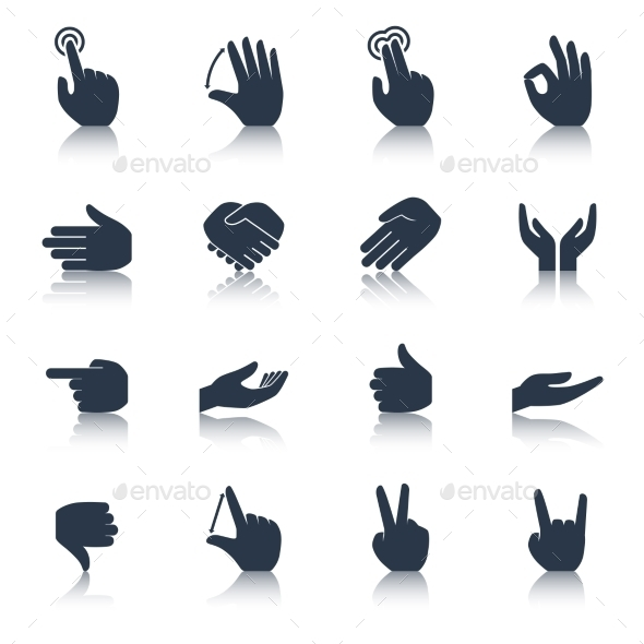 GraphicRiver Hand Icons Black 10088547