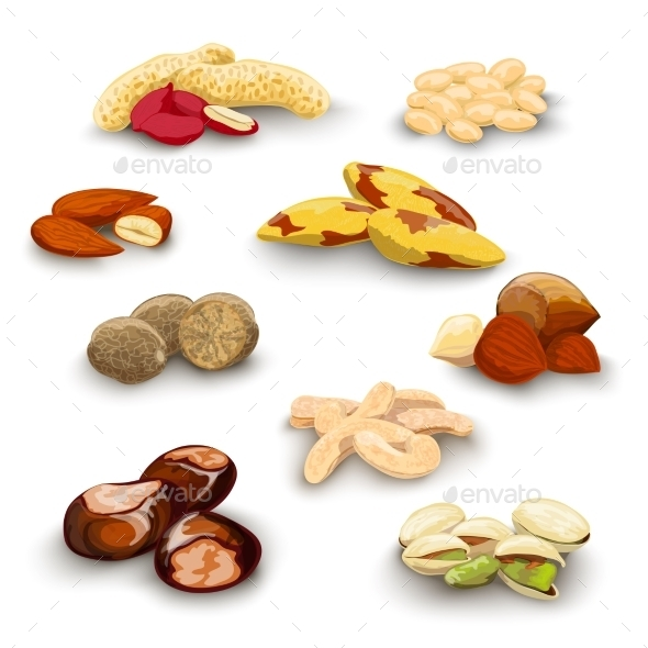 GraphicRiver Nuts Decorative Set 10088579