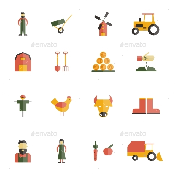 GraphicRiver Farm Icon Flat 10088595