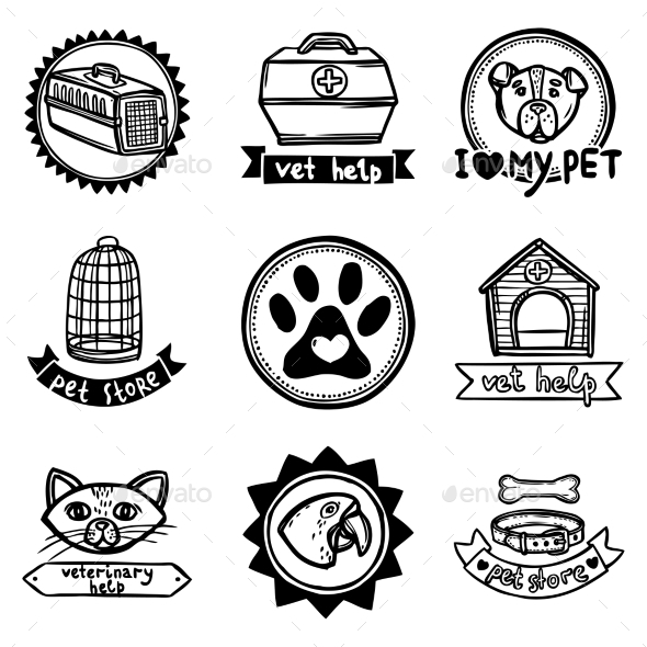 GraphicRiver Veterinary Emblems Set 10088599