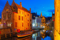Cityscape with the picturesque night canal Dijver in Bruges - PhotoDune Item for Sale