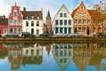 Scenic city view of Bruges canal with beautiful houses - PhotoDune Item for Sale