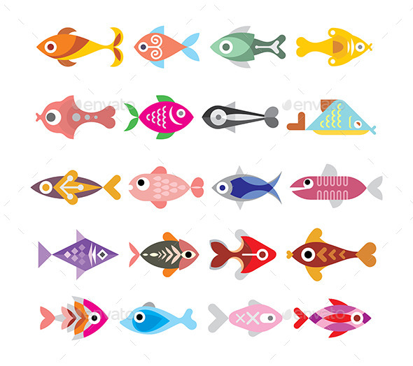 GraphicRiver Fish Icon Set 10089463