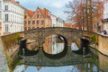 Scenic city view of Bruges canal and bridge - PhotoDune Item for Sale
