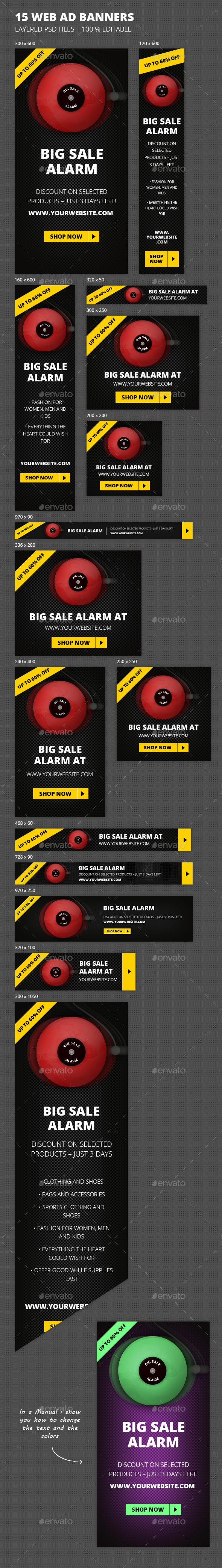 Online Marketing Sale Alarm Web Banners
