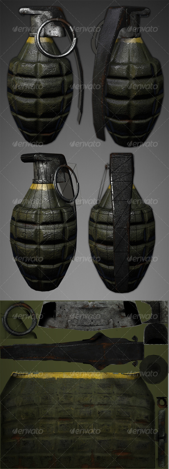 Lowpoly Pineapple Grenade - 3DOcean Item for Sale