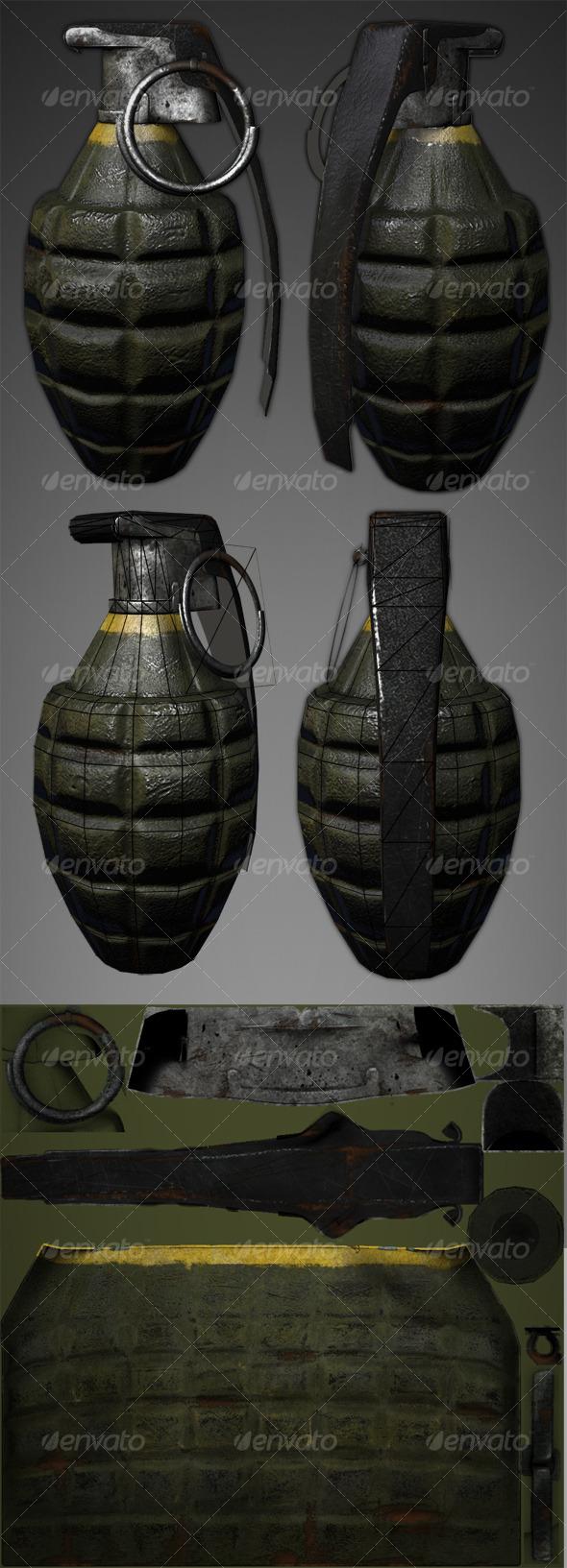 3DOcean Lowpoly Pineapple Grenade 127501
