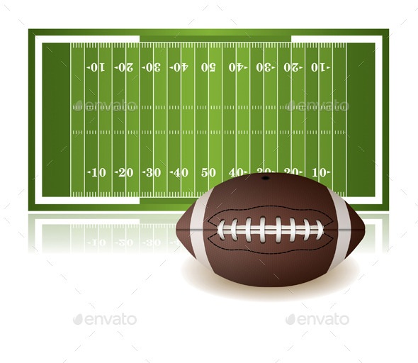 GraphicRiver American Football Field and Ball Isolated 10090647