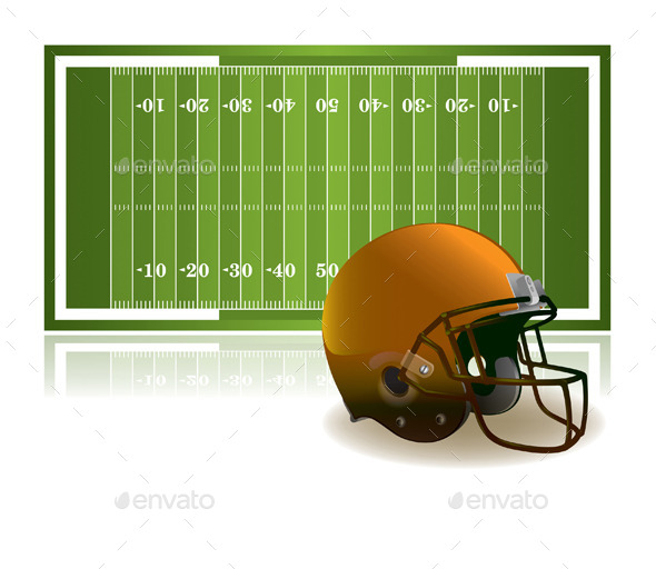 American Football Helmet and Field