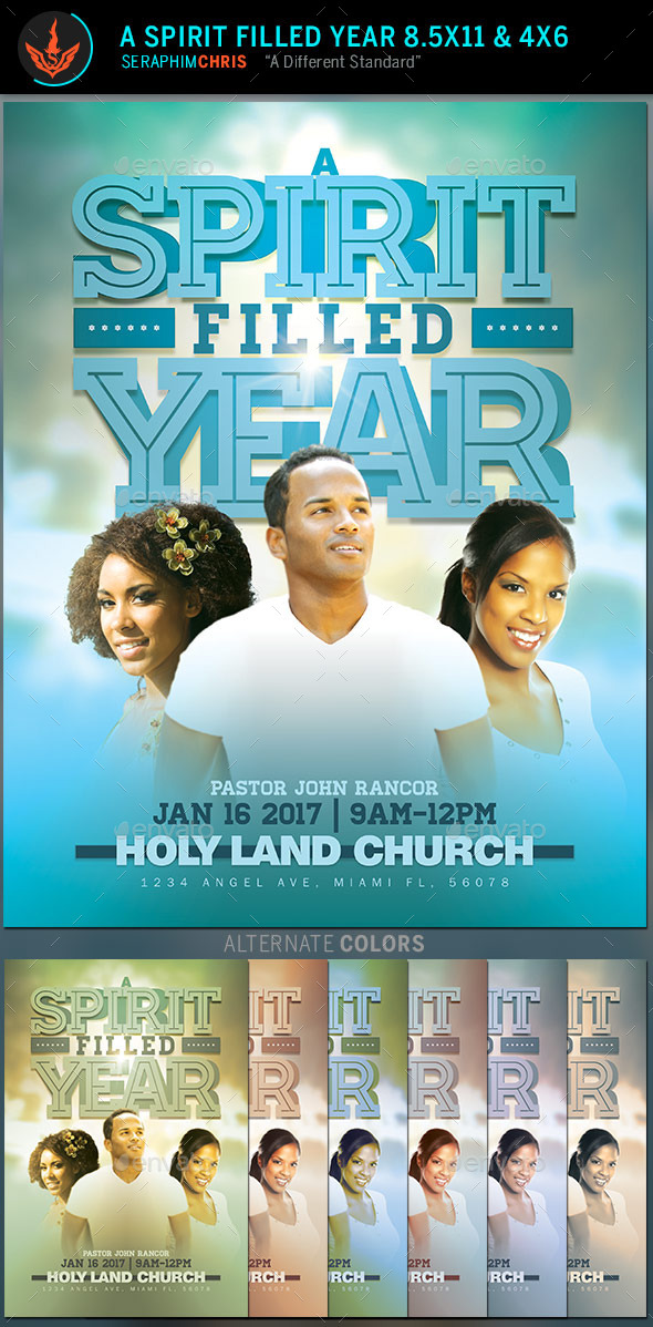 GraphicRiver A Spirit Filled Year Church Flyer Template 10090998