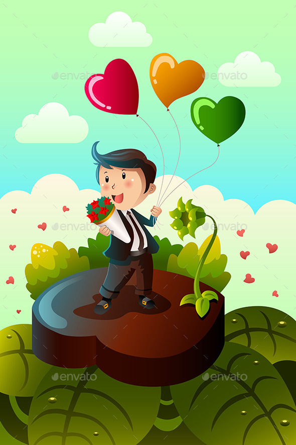 GraphicRiver Man Carrying Heart Shaped Balloons and Red Roses 10091276