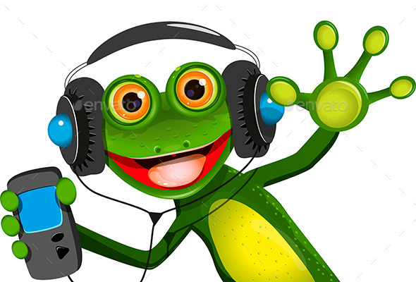 GraphicRiver Frog In Headphones 10091383