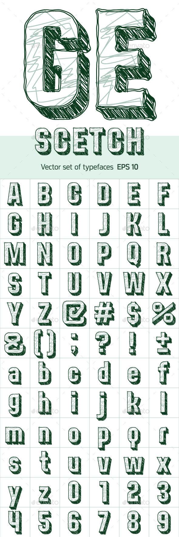 GraphicRiver Sketch Alphabet 10091514