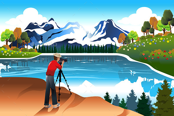 GraphicRiver Photographer Taking Picture of a Beautiful Nature 10091515