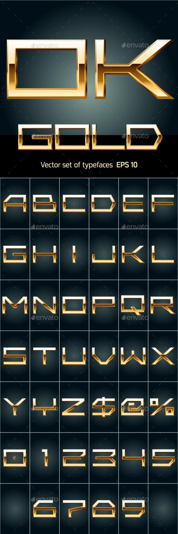 GraphicRiver Illustration of Golden Alphabet 10091526