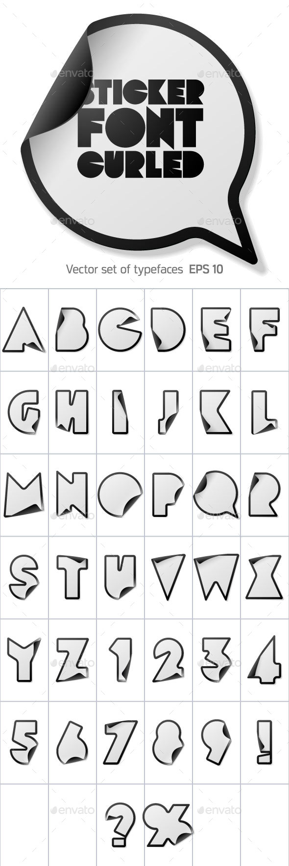 GraphicRiver Alphabet in the Form of Stickers 10091532