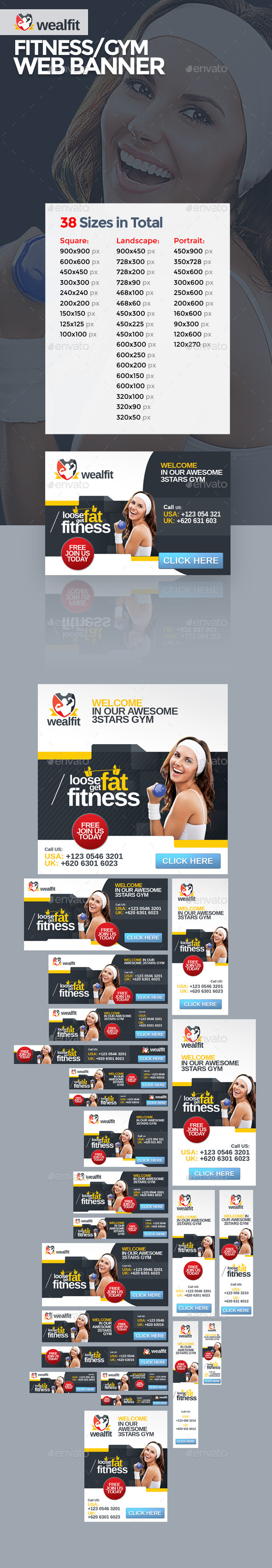 GraphicRiver WealFit Fitness Gym Web Banner 10092326