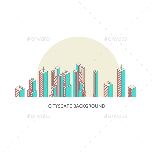 GraphicRiver Cityscape Background Architecture Isometric Style 10092330