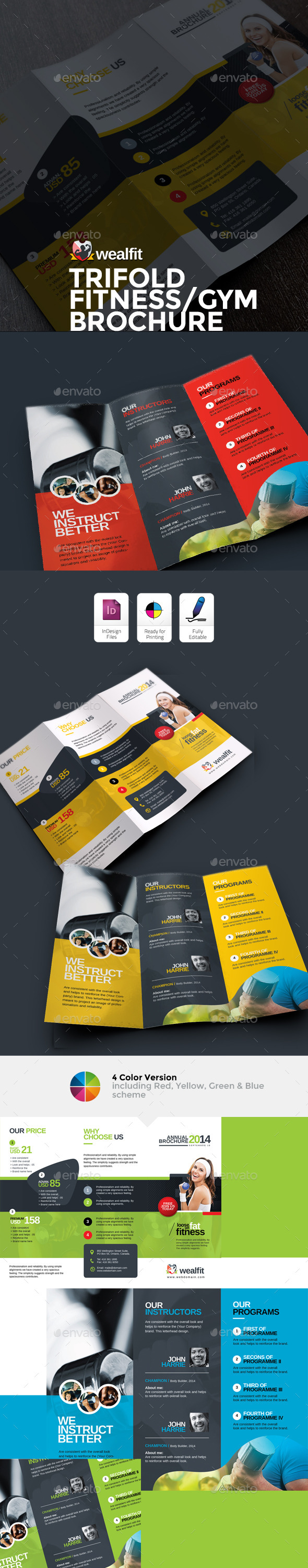 GraphicRiver WealFit Fitness Gym Trifold Brochure 10092601
