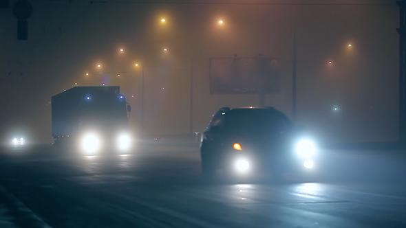 Fog Night Traffic in City 01
