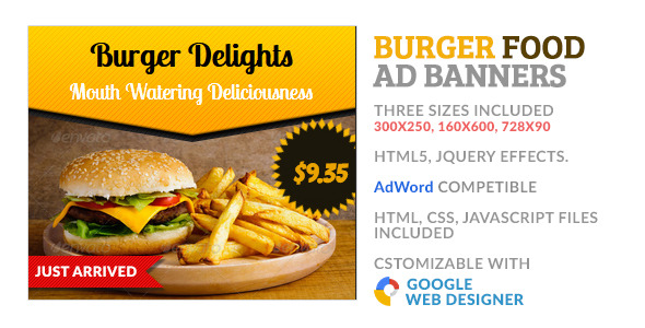 CodeCanyon Burger Food GWD HTML5 Ad Banner 10093536