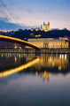 Vertical view of Saone river at Lyon by night - PhotoDune Item for Sale
