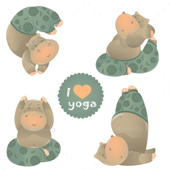 GraphicRiver Animals in Yoga Pose 10093975