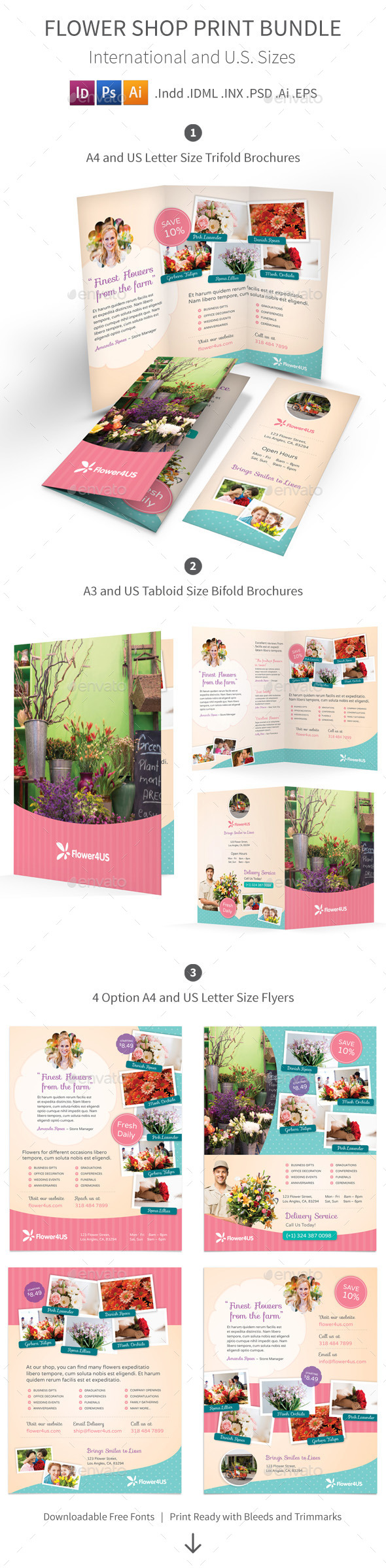 GraphicRiver Flower Shop Print Bundle 10093984