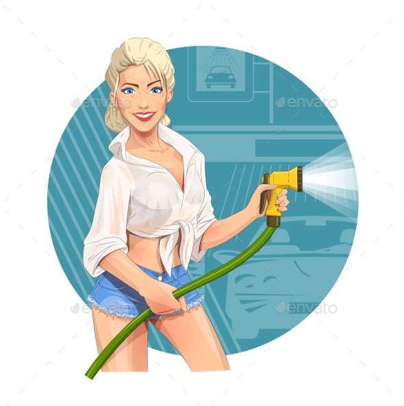 GraphicRiver Girl on Car Wash Cleaning Service 10094034