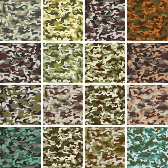 GraphicRiver Set of Seamless Camouflage Patterns 10094401