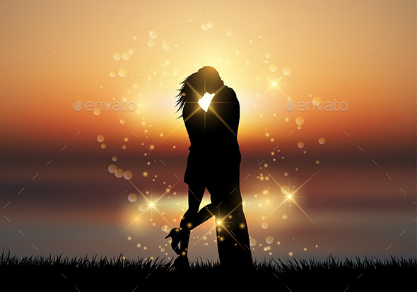 GraphicRiver Kissing Couple Against a Sunset Sky 10094446
