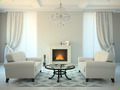 Classic style room with fireplace and white sofas 3D rendering - PhotoDune Item for Sale