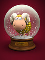 Symbol of 2015. Gold Sheep in snow ball - PhotoDune Item for Sale