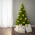 Christmas tree with gold decor in classic style room with dark f - PhotoDune Item for Sale
