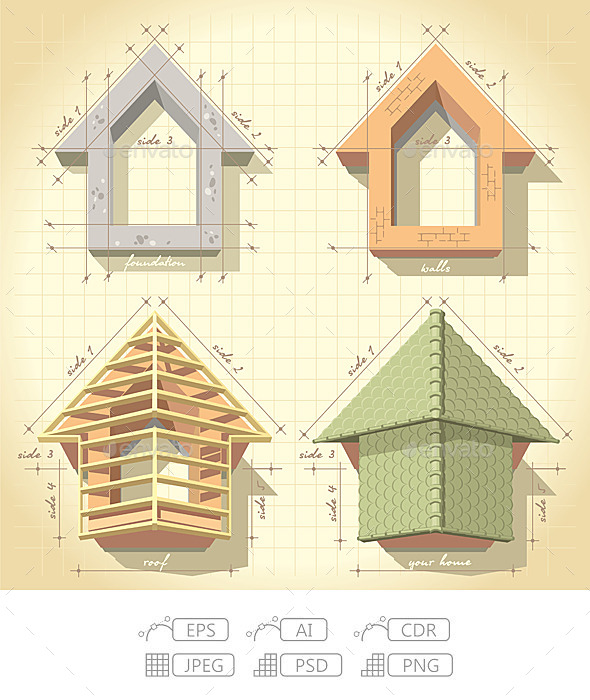 GraphicRiver Drawing of Building a House 10094557