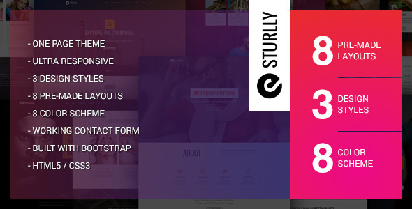 ThemeForest Sturlly Responsive One Page Multi-Purpose Template 10019456