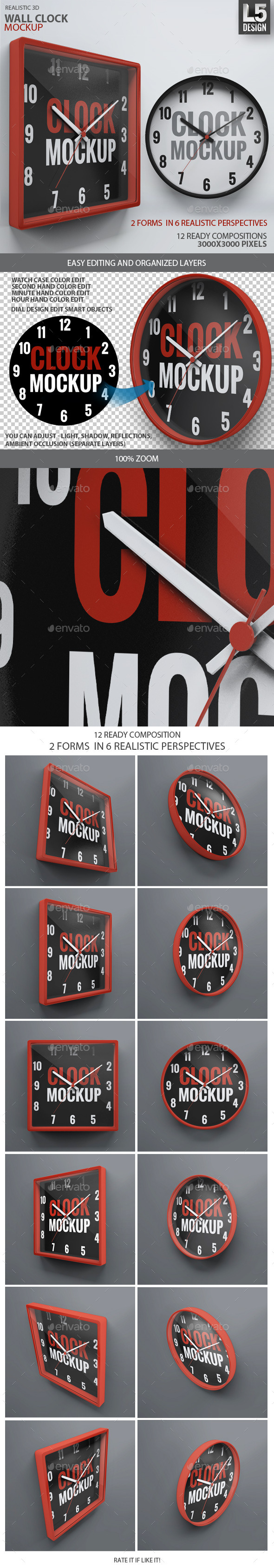 GraphicRiver Wall Clock Mock-Up 10095634