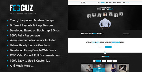 ThemeForest Focuz Multipurpose Business HTML5 Template 10095650